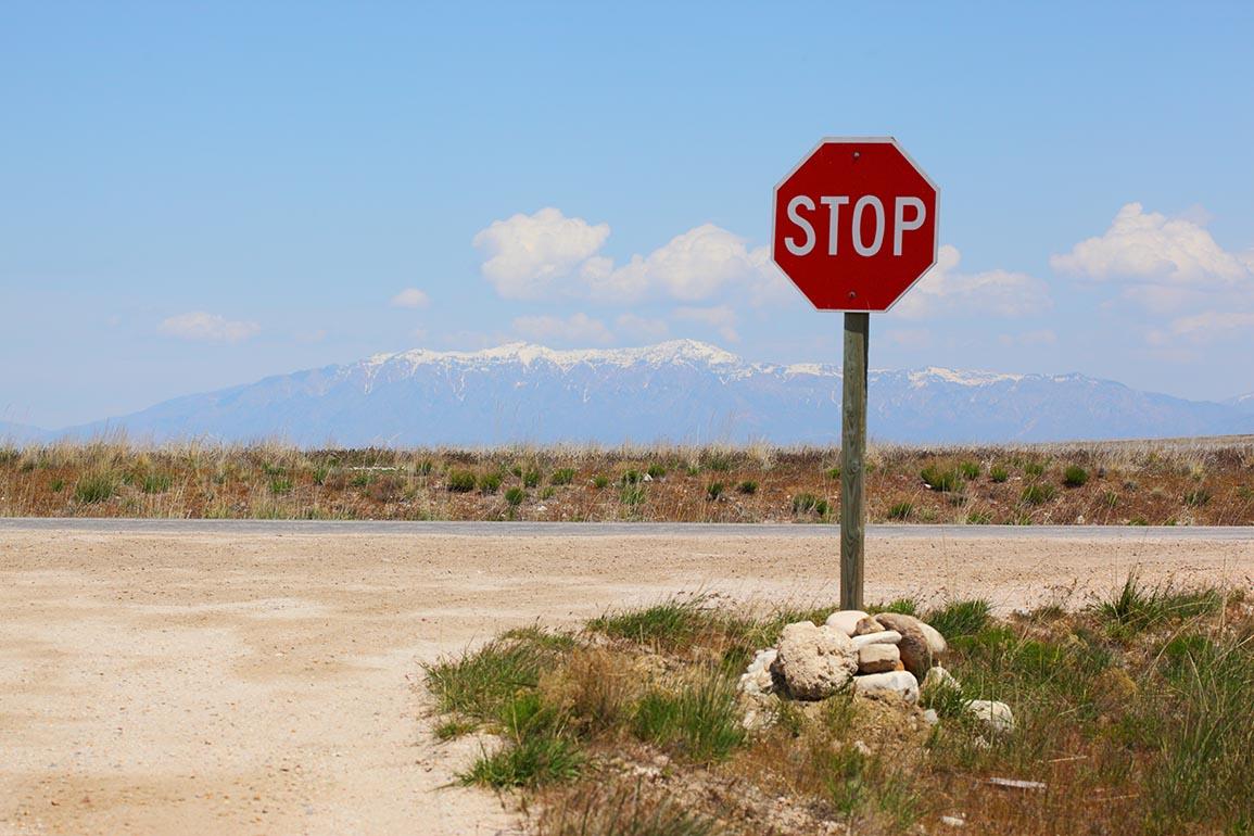 Rural Stop Landscape - Antelope Island Utah - Pink Sherbert Photography CC