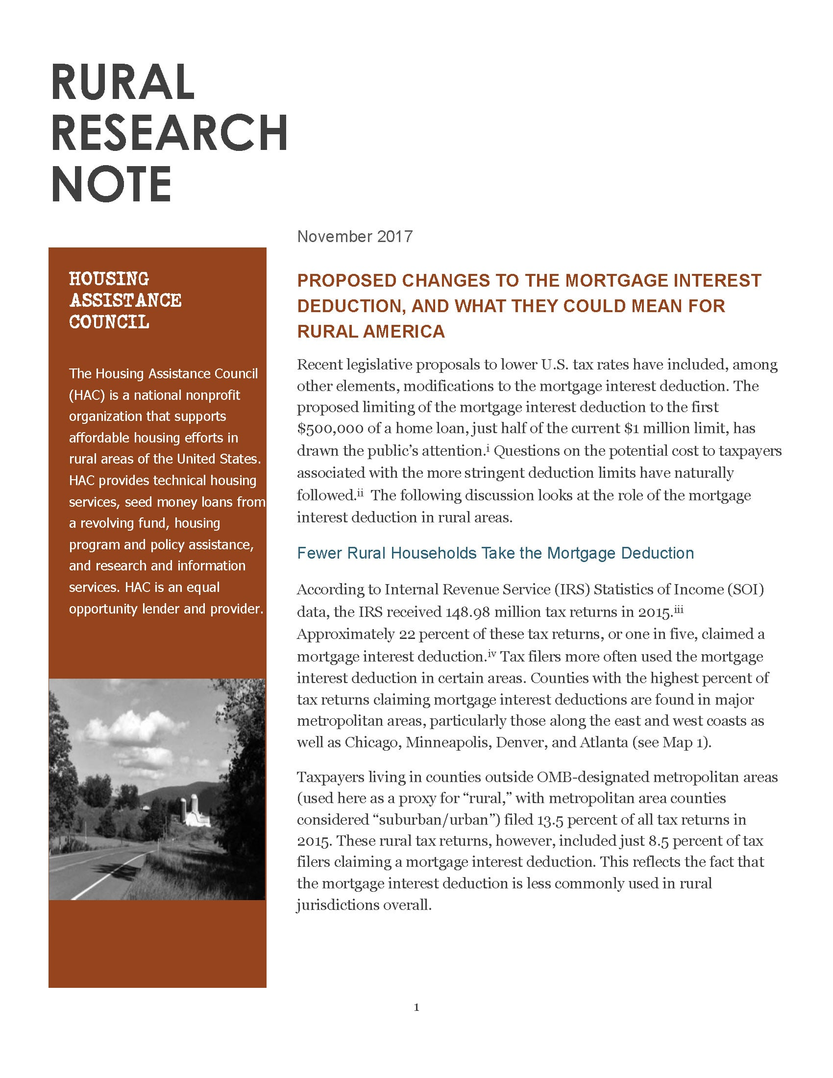 Cover of Rural Research Note Proposed Changes to The Mortgage Interest Deduction, And What They Could Mean for Rural America