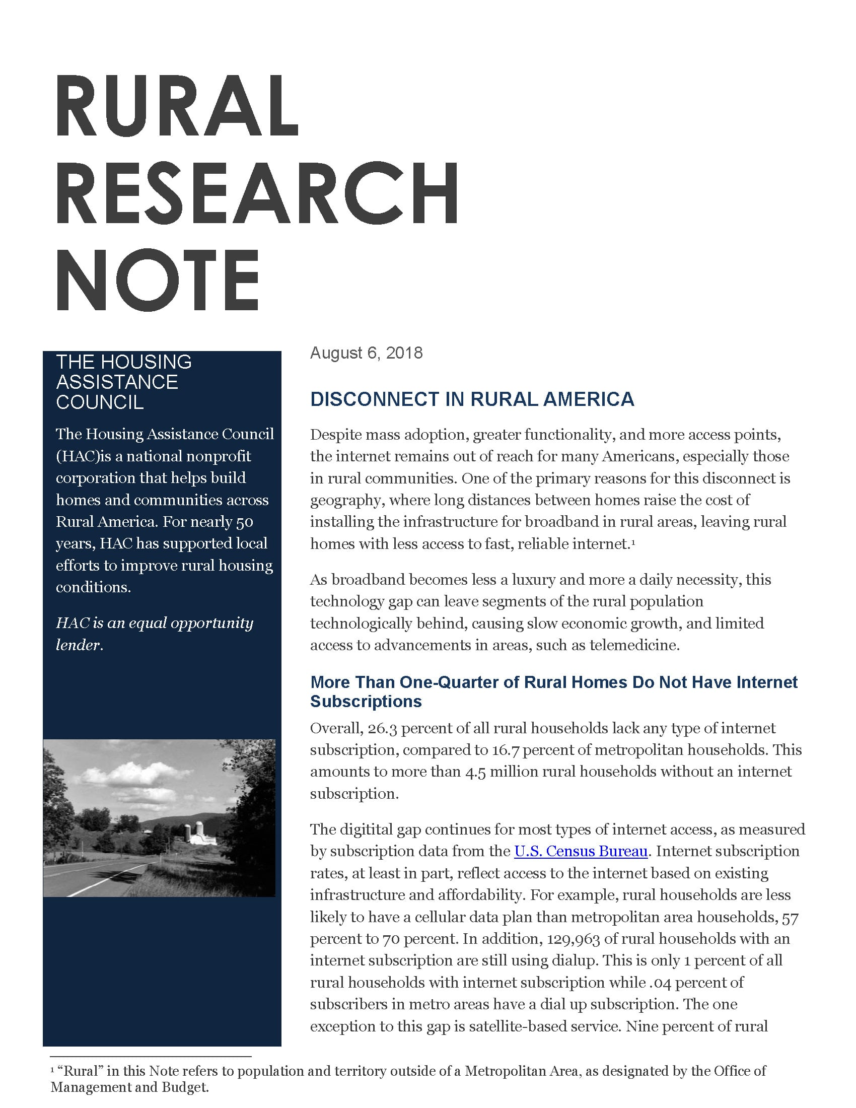 Disconnect in Rural America - Rural Research Note