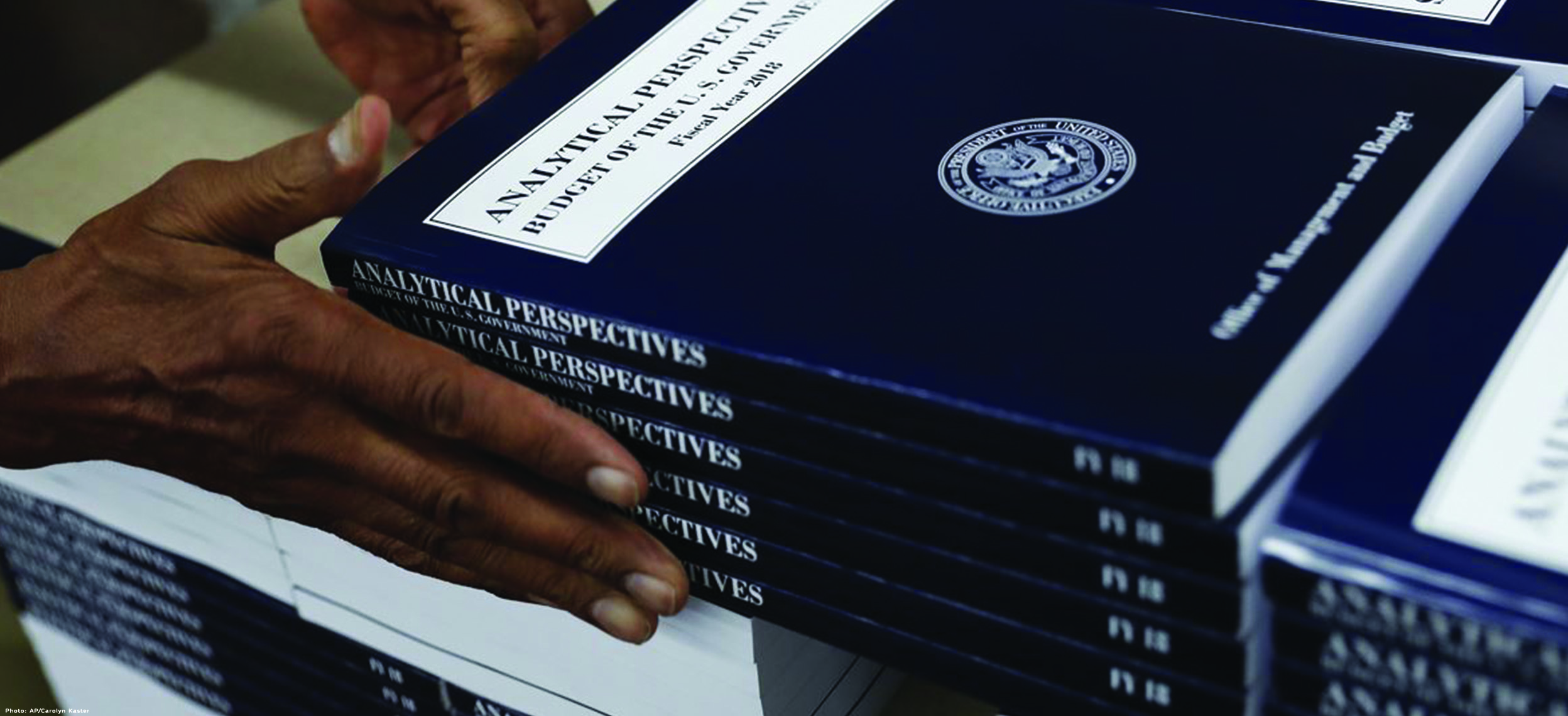 A stack of President Trump's FY 2018 Budget Proposal to Congress