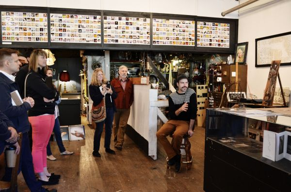 Participants tour a thriving business during a Creative Placemaking peer exchange