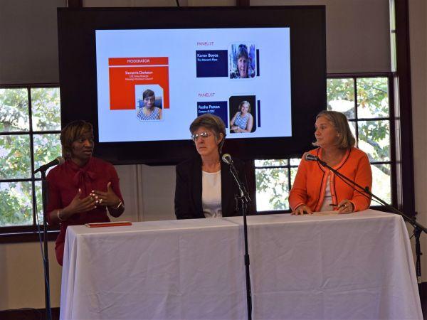 HAC's Shonterria Charleston, Karen Boyce (The Veteran's Place) and Retha Patton (Eastern Eight CDC) discuss housing rural veterans