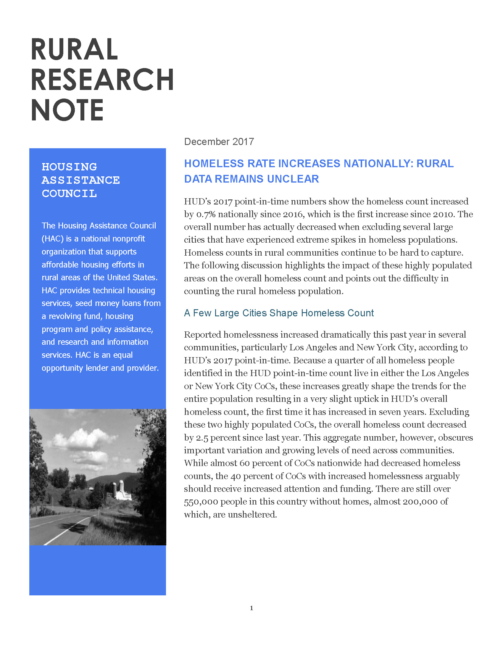 Rural Research Note Homelessness - Cover