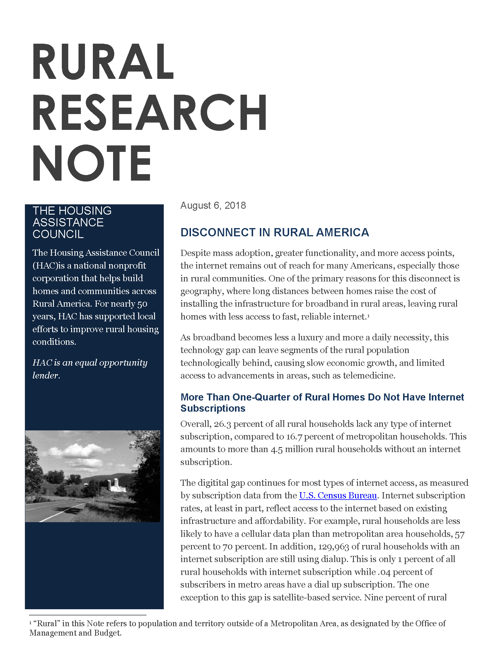 Disconnect in Rural America - Rural Research Brief