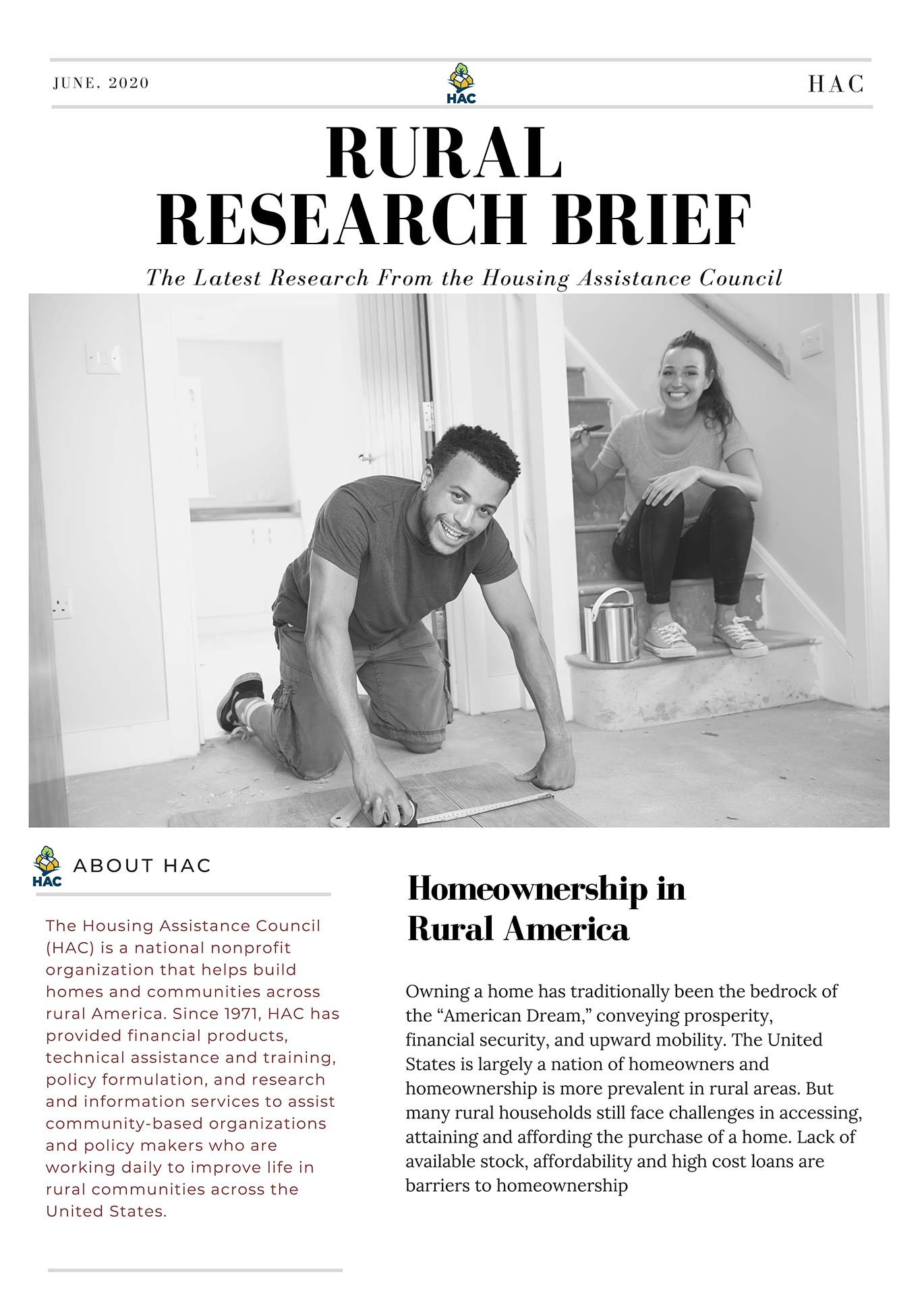 Homeownership in Rural America Research Brief Cover