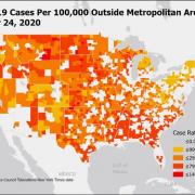 Covid-19 Cases Per 100,000 Outside Metropolitan Areas - 10-24-2020