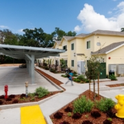 Solar panels covering parking spaces at Calistoga Family Apartments